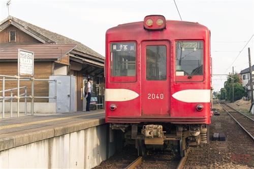 銚子電鉄デハ1002 笠上黒生駅標