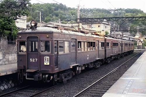 能勢電軌(現・能勢電鉄)500形527(モノクロ→カラー化)