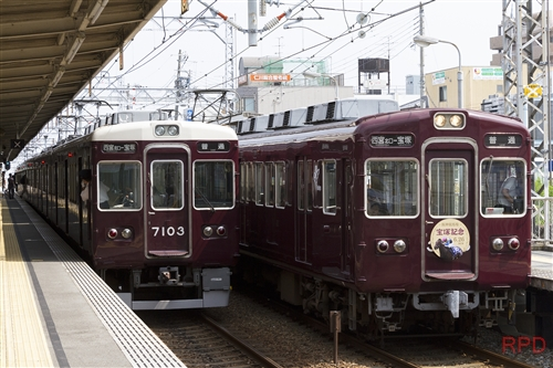 阪急電鉄今津線3000系3033『宝塚記念』ヘッドマーク&7000系7103